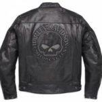 Blouson cuir moto skull
