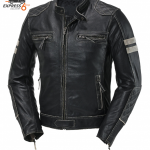 Blouson moto noir mat