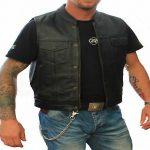 Blouson cuir moto sans manche