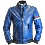 Blouson bleu moto femme