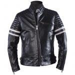 Blouson moto homme cuir noir et blanc