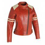 Blouson moto rouge femme
