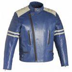Blouson cuir bleu homme moto