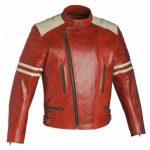 Blouson cuir moto femme rouge