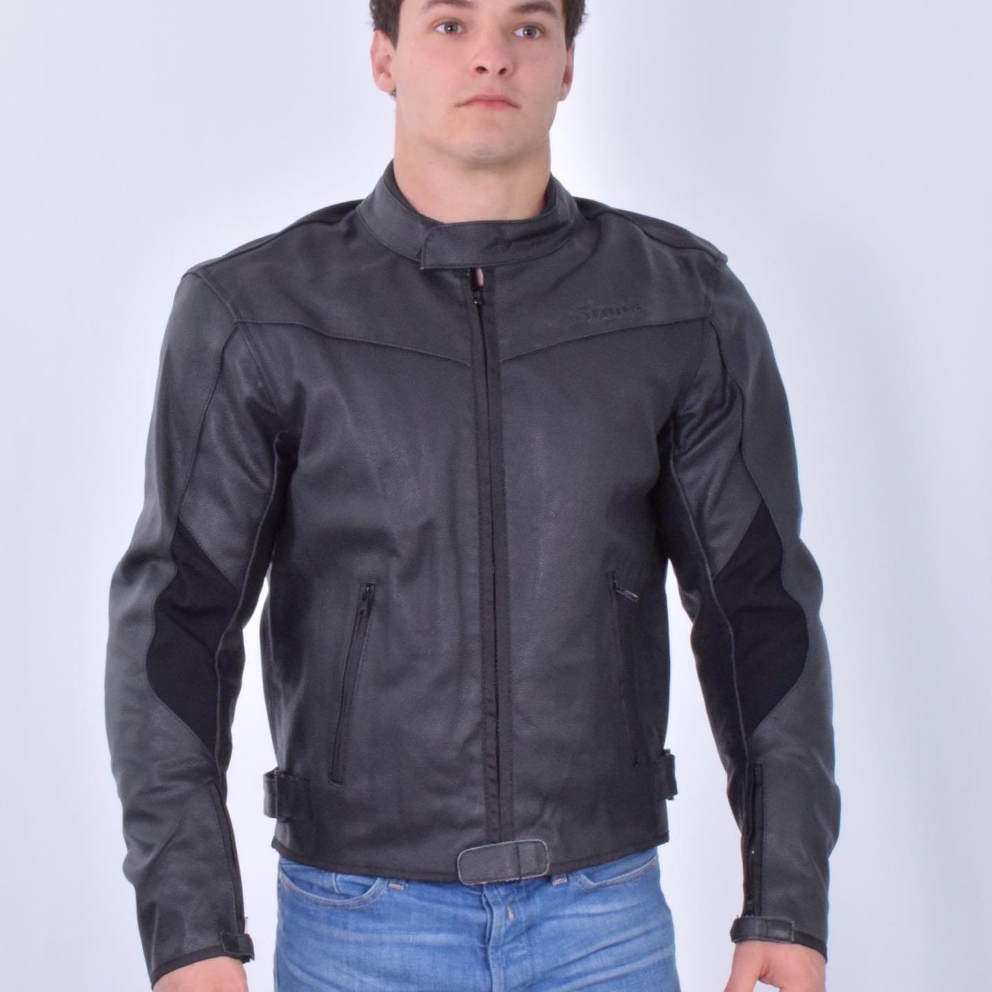 Blouson moto cuir jean