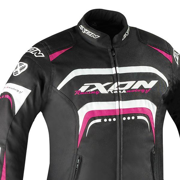 Blouson moto femme ixon noir et rose