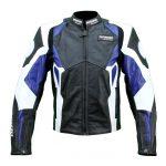 Blouson bleu moto