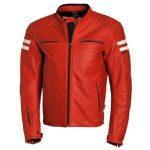 Blouson moto homme cuir rouge