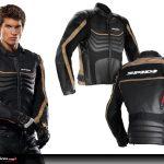 Blouson cuir moto avec protection dorsale intégrée