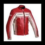 Blouson cuir rouge moto