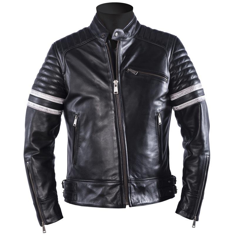 Blouson moto homme cuir blanc