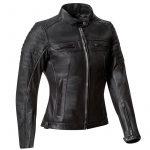 Blouson moto cuir noir et or