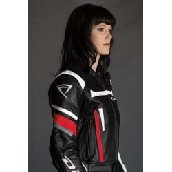 Blouson moto femme cuir noir et rouge