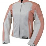 Blouson moto femme rose blanc