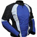 Blouson de moto homme noir et bleu