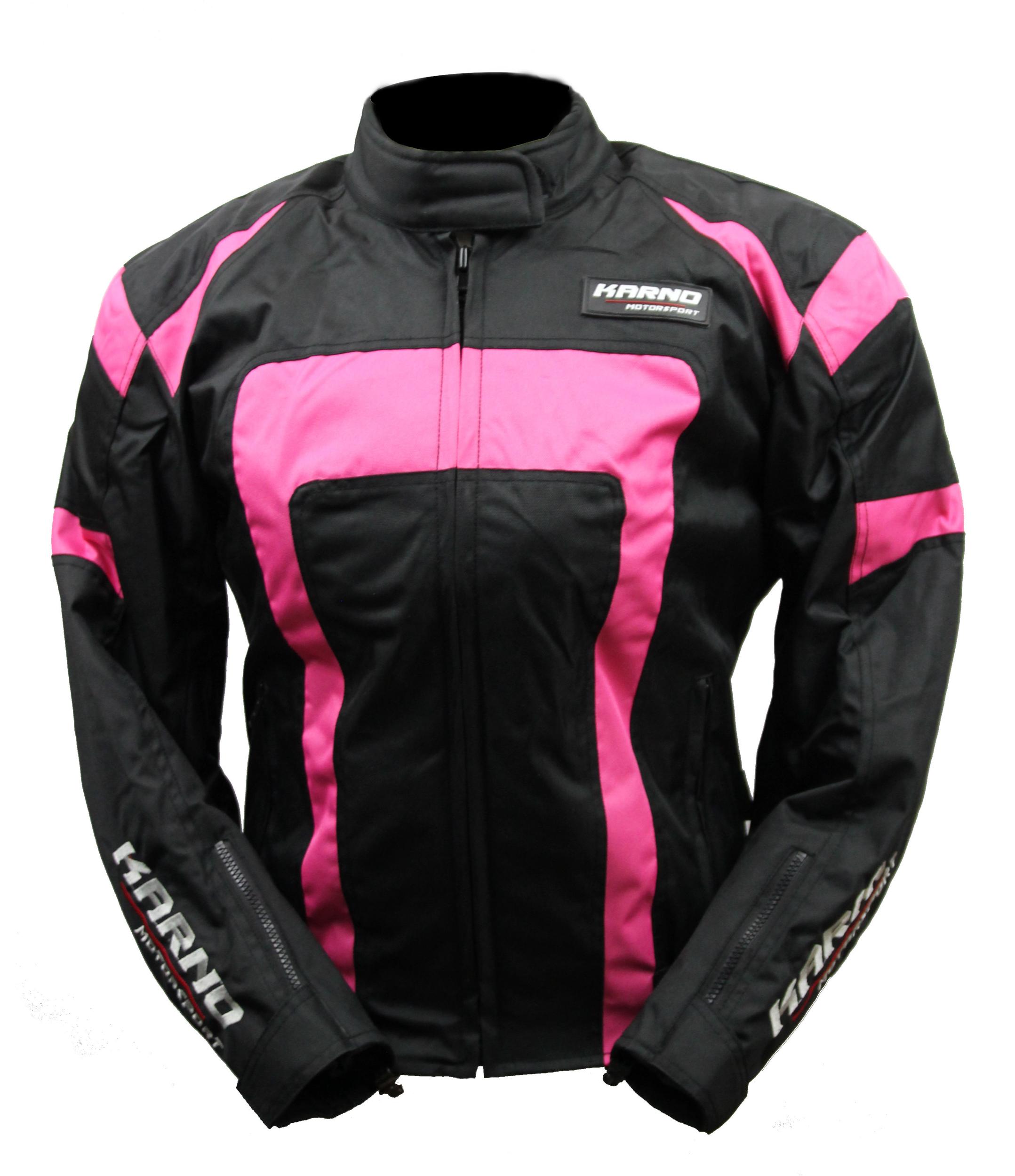 Blouson moto rose et noir