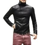 Blouson en cuir de moto homme